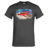 Charcoal T Shirt-PC-21 2 Aircrafts Over Snow Cliffs