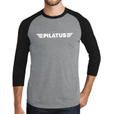Grey/Black Tri Blend Baseball Raglan-