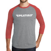 Grey/Red Heather Tri Blend Baseball Raglan-