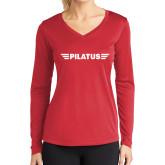 Ladies Syntrel Performance Red Longsleeve Shirt-