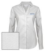 Ladies Red House Diamond Dobby White Long Sleeve Shirt-Pilatus