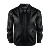 Black Leather Bomber Jacket-