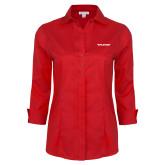 Ladies Red House Red 3/4 Sleeve Shirt-Pilatus