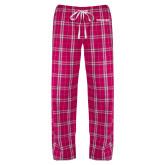 Ladies Dark Fuchsia/White Flannel Pajama Pant-Pilatus