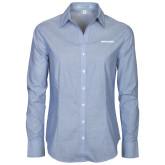 Ladies Light Blue Crosshatch Poplin Long Sleeve Shirt-Pilatus