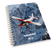 Clear 7 x 10 Spiral Journal Notebook-PC-6 Over Snowy Cliff