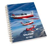 Clear 7 x 10 Spiral Journal Notebook-PC-7 MKII 3 Aircrafts