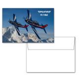 6 1/4 x 4 5/8 Flat Cards w/Blank Envelopes 10/pkg-PC-7 MKIIs over Snow Cliffs