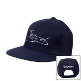 Navy Flat Bill Snapback Hat-PC-24 Wispy