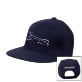 Navy Flat Bill Snapback Hat-