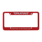 Metal Red License Plate Frame-Engraved