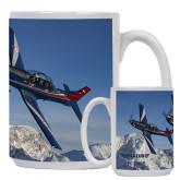 Full Color White Mug 15oz-PC-7 MKIIs over Snow Cliffs