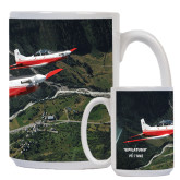 Full Color White Mug 15oz-PC-7 MKII 2 Aircrafts Over Green Terrain
