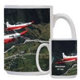 Full Color White Mug 15oz-PC-7 MKII 2 Aircrafts Over Green Terrain