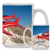 Full Color White Mug 15oz-PC-21 2 Aircrafts Over Snow Cliffs
