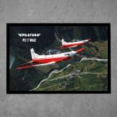 Full Color Indoor Floor Mat-PC-7 MKII 2 Aircrafts Over Green Terrain