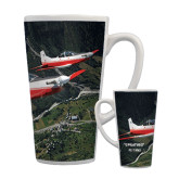 Full Color Latte Mug 17oz-PC-7 MKII 2 Aircrafts Over Green Terrain