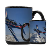 Full Color Black Mug 15oz-PC-7 MKIIs over Snow Cliffs
