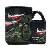 Full Color Black Mug 15oz-PC-7 MKII 2 Aircrafts Over Green Terrain