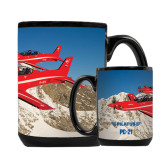 Full Color Black Mug 15oz-PC-21 2 Aircrafts Over Snow Cliffs