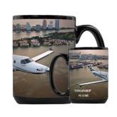 Full Color Black Mug 15oz-PC-12 NG City Lake View