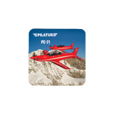 Hardboard Coaster w/Cork Backing 4/set-PC-21 2 Aircrafts Over Snow Cliffs