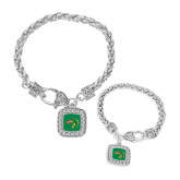 Silver Braided Rope Bracelet With Crystal Studded Square Pendant-Dragon Head