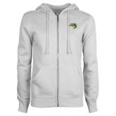 ENZA Ladies White Fleece Full Zip Hoodie-Secondary Mark