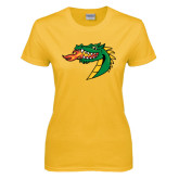 Ladies Gold T Shirt-Dragon Head