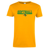 Ladies Gold T Shirt-Softball Line