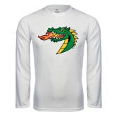 Performance White Longsleeve Shirt-Dragon Head