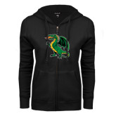 ENZA Ladies Black Fleece Full Zip Hoodie-Secondary Mark