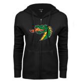 ENZA Ladies Black Fleece Full Zip Hoodie-Dragon Head