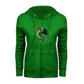 ENZA Ladies Kelly Green Fleece Full Zip Hoodie-Secondary Mark
