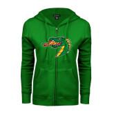 ENZA Ladies Kelly Green Fleece Full Zip Hoodie-Dragon Head