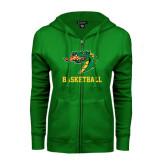 ENZA Ladies Kelly Green Fleece Full Zip Hoodie-Basketball