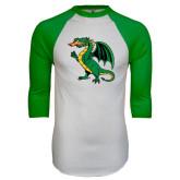 White/Kelly Green Raglan Baseball T Shirt-Secondary Mark