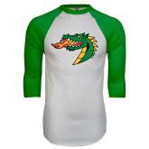 White/Kelly Green Raglan Baseball T Shirt-Dragon Head