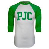 White/Kelly Green Raglan Baseball T Shirt-PJC