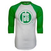 White/Kelly Green Raglan Baseball T Shirt-Primary Mark Distressed