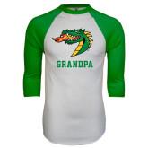 White/Kelly Green Raglan Baseball T Shirt-Grandpa
