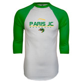 White/Kelly Green Raglan Baseball T Shirt-Baseball Laces on Top
