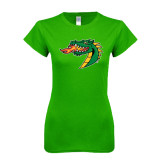 Next Level Ladies SoftStyle Junior Fitted Kelly Green Tee-Dragon Head