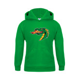 Youth Kelly Green Fleece Hoodie-Dragon Head