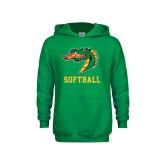 Youth Kelly Green Fleece Hood-Softball