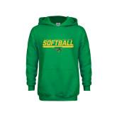 Youth Kelly Green Fleece Hoodie-Softball Line