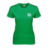 Ladies Kelly Green T Shirt-Primary Mark