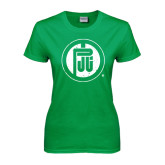 Ladies Kelly Green T Shirt-Primary Mark Distressed