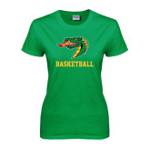 Ladies Kelly Green T Shirt-Basketball