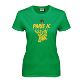 Ladies Kelly Green T Shirt-Basketball Net